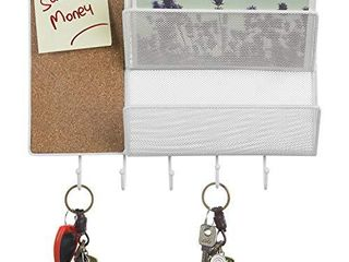 MyGift 12 Inch White Metal Mesh Wall Mounted 2 Slot Mail Sorter Rack with Cork Board   5 Key Hooks