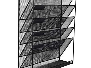 EasyPAG Mesh Wall File Holder 5 Tier Vertical Mount   Hanging Organizer with Bottom Flat Tray  Black