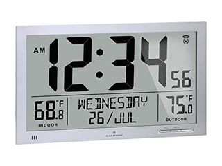Marathon Slim Atomic Full Calendar Wall Clock with Indoor Outdoor Temperature  Extra long 4 5 Inch Digits  Comes with External Probe for Refrigerators   Cl030066GG  Graphite Grey