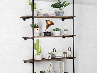 Industrial Wall Mount Iron Pipe Shelf  4 Tier Bookshelf  Vintage Retro Black DIY Open Bookcase Shelf Storage Organizer for living Room Home Kitchen Office Wood Shelf Not Included