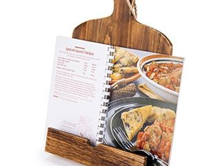 Cutting Board Style Rustic Brown Wood Recipe Cookbook iPad Tablet Stand Holder Stand with Kickstand