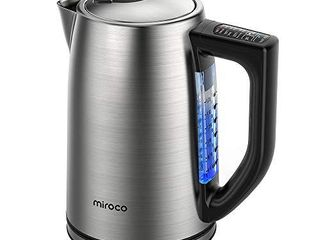 Miroco Electric Kettle Temperature Control Stainless Steel 1 7 l Tea Kettle  BPA Free Hot Water Boiler Cordless with lED light  Auto Shut Off  Boil Dry Protection  Keep Warm  1500W Fast Boiling