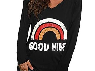 UlTRANICE Women s Casual V Neck long Sleeve T Shirts Graphic Tee Graphic03 M