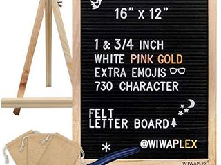 WIWAPlEX Black Felt letter Board Word Board Sign 16 x 12 inch Changeable letter Board with 730 Plastic Message Board letters Numbers Symbols Pattern Wooden Tripod Stand  Scissors  3 Free Storage Bags
