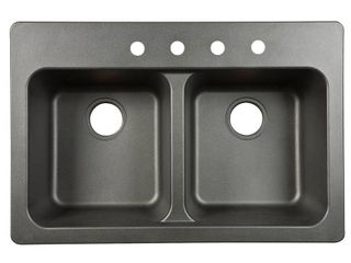 Franke USA FTB904BX Double Bowl Sink 9 Inch Deep  Black