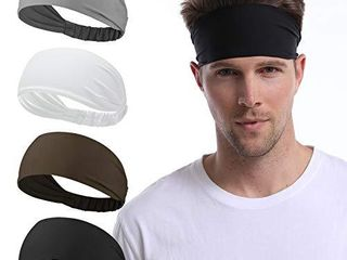 Udaily 4 Pack Mens Headband  Sports Headbands for Men and Women  Mens Sweatband for Workout  Running  Hiking  Yoga  Basketball  Cycling  Elastic Sweat Wicking  Non Slip  Helmet Friendly Hairband