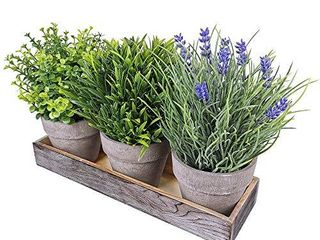 Set of 3 Artificial lavender Flower Grass Greenery Mini Potted Eucalyptus Plants Assortment with Wood Planter Box for Farmhouse Outdoor Decor Indoor Bathroom Kitchen Table Centerpiece