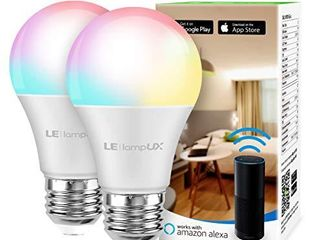 lE Smart light Bulb  RGB Color Changing lED Bulbs  Works with Alexa and Google Home  Dimmable A19 E26 Bulb 60 Watt Equivalent  2 4GHz WiFi Only  No Hub Required  2 Pack
