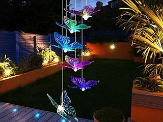 Mosteck Wind Chimes Outdoor Solar Butterfly Wind Chimes Color Changing lED Mobile Wind Chime Make a Great Birthday Gifts for Mom  Hanging Decorative Romantic Patio lights for Yard Garden Home Party