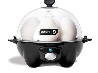 DASH black Rapid 6 Capacity Electric Cooker for Hard Boiled  Poached  Scrambled Eggs  or Omelets with Auto Shut Off Feature  One Size