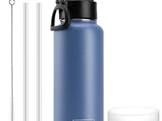 koodee Insulated Water Bottle with Straw lid 32 oz Stainless Steel Wide Mouth Sports Water Bottle Double Wall Vacuum Keeps liquids Hot or Cold  Royal Blue
