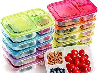 Meal Prep Containers 3 Compartment Food Storage Containers Microwave Dishwasher Freezer Safe  Color mixing  10 PACK  3compartment