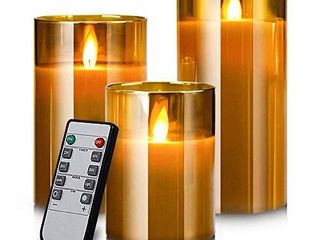led Flameless Candles  Battery Operated Flickering Candles Pillar Real Wax Moving Flame Electric Candle Sets Gold Glass Effect with Remote Timer  4 in  5 in  6 in  Pack of 3