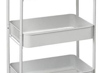 CAXXA 3 Tier Rolling Metal Storage Organizer   Mobile Utility Cart Kitchen Cart with Caster Wheels  White