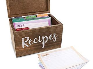 Juvale Wood Recipe Organization Box with Cards and Dividers  7 1 x 5 x 4 7 Inches