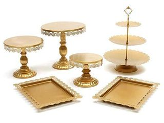 Agyvvt Set of 6 Pieces Cake Stands Iron Gold Cupcake Holder Fruits Dessert Display Plate Serving Tray for Baby Shower Wedding Birthday Party Celebration Home Decor