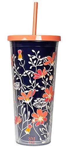 Steel Mill   Co 24 Ounce Tumbler with lid and Reusable Silicone Straw  Navy Coral Double Wall Insulated Travel Cup  Floral Vines