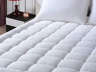EASElAND King Size Mattress Pad Pillow Top Mattress Cover Quilted Fitted Mattress Protector Cotton Top 8 21  Deep Pocket Cooling Mattress Topper