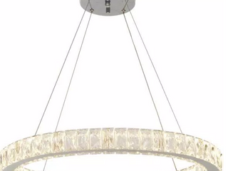 Home Decorators Collection 24 In  Chrome Integrated led Pendant  Clear Crystals