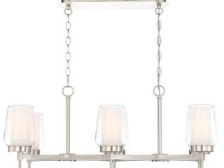 Easylite 6 light Brushed Nickel Chandelier with Clear and White Glass Shades
