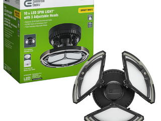 Commercial Electric Spin light 10 in  Black lED Flush Mount Ceiling light with 3 Adjustable Heads 4000K Bright White 1260 lumens
