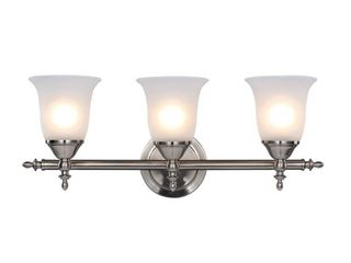 Hampton Bay Olgelthorpe 3 light Brushed Nickel Bathroom Vanity light with Bell Shaped Frosted Glass Shades