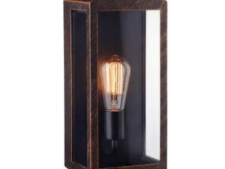 Globe Electric Thomas 1 light Outdoor Indoor Wall Sconce  Brushed Bronze  Clear Glass Panels  44275