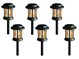 Hampton Bay Solar Black Outdoor lED 3000K 12 lumens Pathway light Set  6 Pack