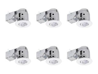Commercial Electric 3 in  White lED Swivel Round New Construction Remodel Recessed lighting Kit lED Bulbs Included  6 Pack