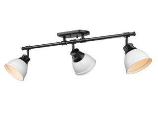 Golden lighting 3602 3SF BlK WHT Duncan 3 light Track light in Black with Matte White Shade