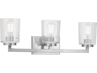 Home Decorators Collection Westlyn 3 light Brushed Nickel Vanity light with Clear Optic Glass Shades