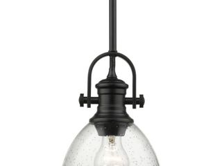 Hines Mini Pendant in Black with Seeded Glass