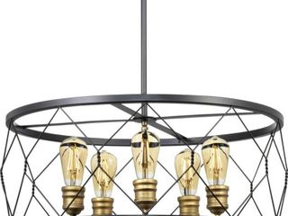Progress lighting Dawsonville 5 light Matte Black Chandelier with Aged Brass Accents