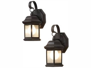 Hampton Bay 1 light Bronze Outdoor Wall lantern Sconce with Seeded Glass  2 Pack
