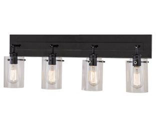 Hampton Bay Regan 29 13 in  4 light Espresso Vanity light with Clear Glass Shades