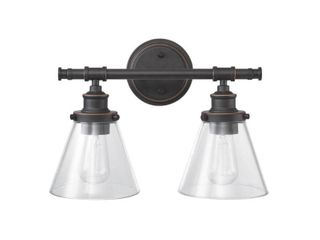 Globe Electric Parker 2 light Oil Rubbed Bronze Vanity light with Clear Glass Shades  51444