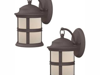 Hampton Bay 6 Watt Bronze Outdoor Integrated lED Wall Mount lantern  2 Pack