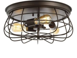 Jonathan Y Calvia 15 7  3 light Farmhouse Metal Cage Flush Mount