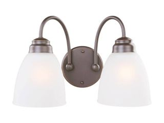 Hampton Bay Hamilton 2 light Oil Rubbed Bronze Vanity light with Frosted Glass Shades