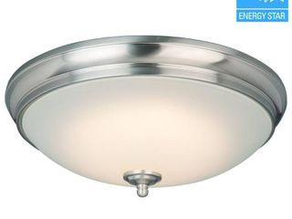 Commercial Electric Brushed Nickel lED Flushmount