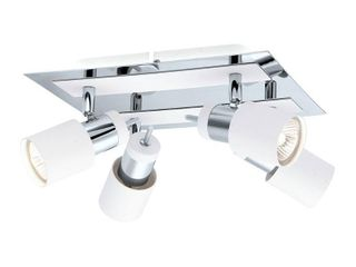 Eglo Davida 10 54 in  W 4 light Chrome Semi Flush Mount light with White Shades