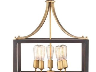 Progress lighting Boswell Quarter 5 light Vintage Brass Pendant with Painted Black Distressed Wood Accents