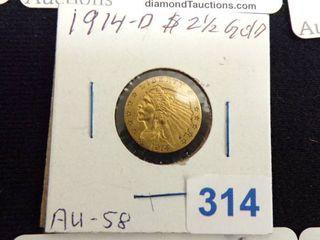 1914 D  2 50 GOlD INDIAN COIN AU58