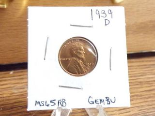 1939 D lINCOlN CENT   MS65RB GEM BU