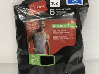 6 PIECES HANES TAGlESS TANKS SIZE lARGE