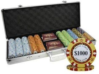500CT MONTECARlO POKER AlUMINUM CASE WITH CHIPS