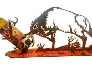 Montana Metal Art   Metal Elk Wine Bottle Holder