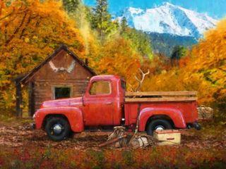 Solstice Arts Nostalgic Red Truck Wood Block Mount