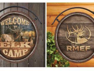 Wild Wings Welcome to Elk Camp Dbl  Side Met  Sign