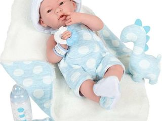JC Toys la Newborn Real Boy 15  Baby Doll in Blue